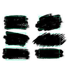 Set of black paint ink brush strokes brushes lines vector