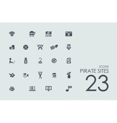 Set of pirate sites icons vector image