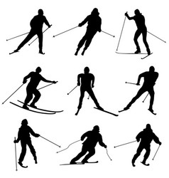 set of silhouettes skiers vector image