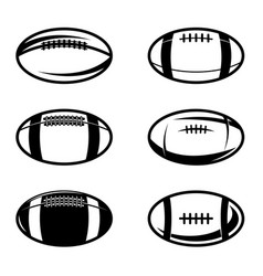 set rugby balls in vintage monochrome style vector image