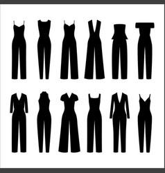 set women overalls vector image