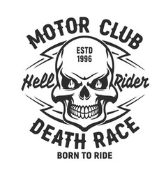 skull t-shirt print mockup motor club society vector image