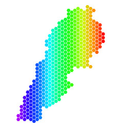 spectrum hexagon lebanon map vector image