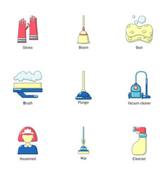 sweeping icons set cartoon style vector image