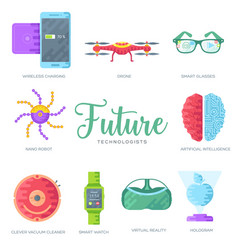 technology brochure cards flat set vector image
