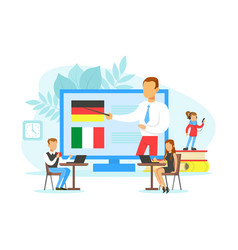 Tiny people learning language online education vector