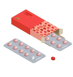 Tomatoes pills in pack Vegetarian vitamins Diet vector image