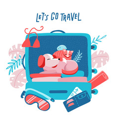 Travel suitcase with dog cat and hamster vector