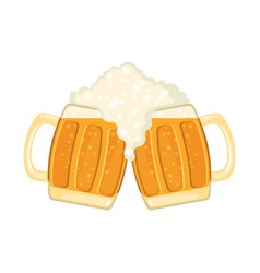 Two glass mugs beer in flat style isolated on vector