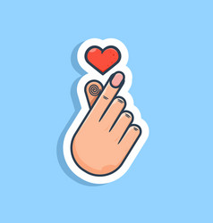 Unique korean love hand gesture sticker ready vector