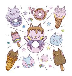 variety kawaii ice cream set vector image
