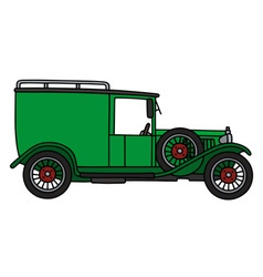 Vintage green van vector