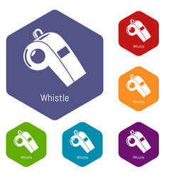 Whistle icons hexahedron vector