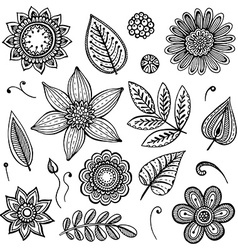 White and black doodle floral set vector image