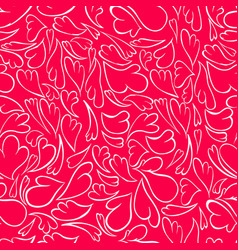 White doodle hearts on a red background vector