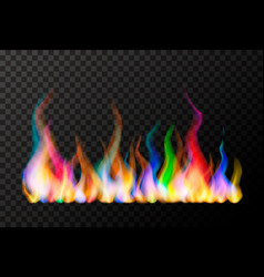 Wide bright colourful magic fire flame vector