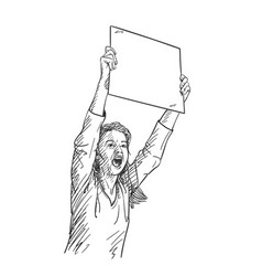woman with blank sign board is screaming during vector image