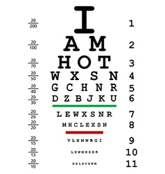 Words I am hot with optical eye test use by vector image