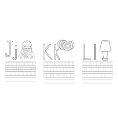 Writing practice letters jkl coloring book vector