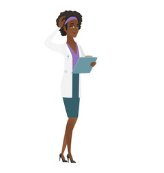 Young african-american doctor scratching her head vector