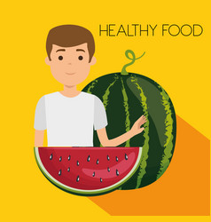 young man with watermelon healthy food vector image