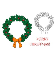 Christmas wreath with holly and berries vector image vector image