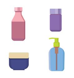 cosmetic bottles color set beauty shampoo vector image vector image