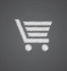 shopping cart sketch logo doodle icon vector image