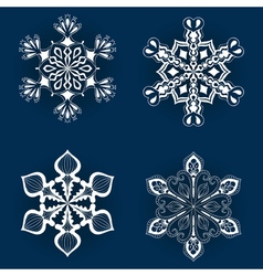 vintage snowflake set in zentangle style White vector image vector image