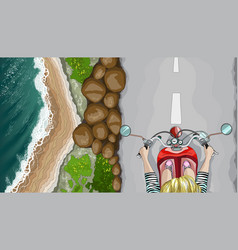 woman on bike in the seaside environment top view vector image