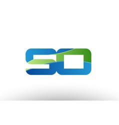 blue green so s o alphabet letter logo vector image vector image