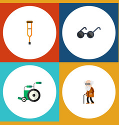 flat icon handicapped set of ancestor spectacles vector image vector image
