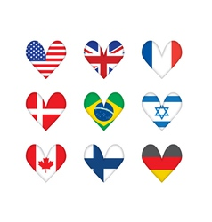 Heart-shaped flags vector