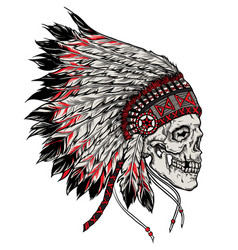 indian skull hand drawn isolated vector image vector image