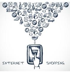 Internet Shopping Sketch Concept vector image vector image