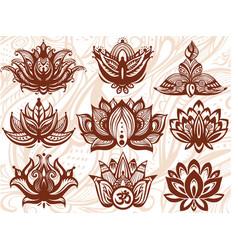 ornamental lotus flowers vector image vector image