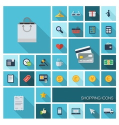 SHOPPING icons with long shadow vector image