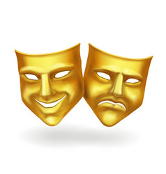 Theater masks gold icons realistic vector