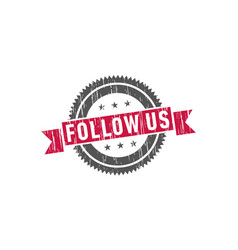 follow us stamp sign seal vector image