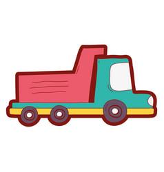 line color dump truck industry and contruccion vector image vector image