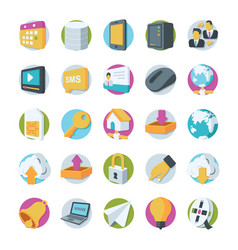 network and communication icons 2 vector image vector image
