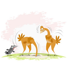 Two ostriches and crow vector
