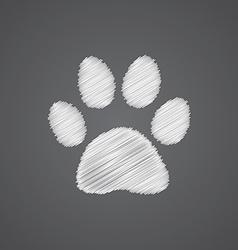 Cat footprint sketch logo doodle icon vector