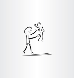 father man play with child drawing vector image vector image