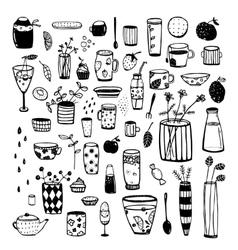 Hand Drawn Doodles of Dishware Black Sketchy vector image vector image