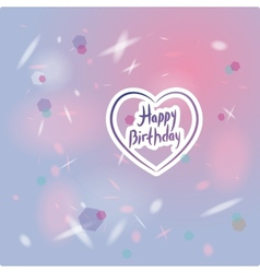 Happy birthday card heart pink and purple vector image vector image