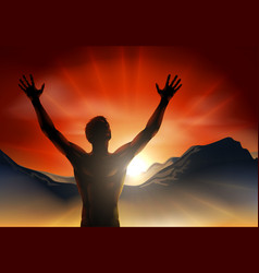 man in silhouette arms raised on mountain vector image vector image