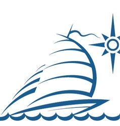 Yacht on the waves vector image vector image