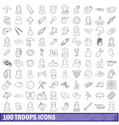 100 troops icons set outline style vector image