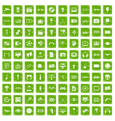 100 video icons set grunge green vector image